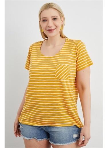Curly Sarı Çizgili T-Shırt Sarı